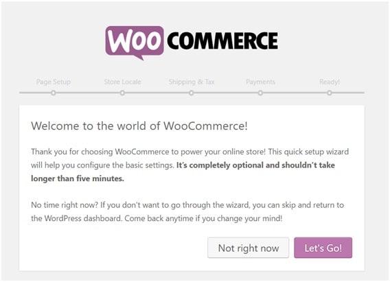 penyiapan di layar WooCommerce